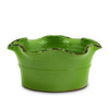 SCAVO GIARDINI-GARDEN: Large Low Ball Planter Vase with fluted rim  'VERDE BOSCO' LIGHT GREEN