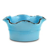 SCAVO GIARDINI-GARDEN: Large Low Ball Planter Vase with fluted rim  'AZZURRO' LIGHT BLUE