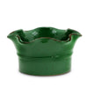 SCAVO GIARDINI-GARDEN: Large Low Ball Planter Vase with fluted rim  'VERDE PRATO' DARK GREEN