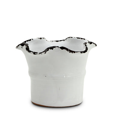 SCAVO GIARDINI-GARDEN: Medium Planter Vase with fluted rim WHITE