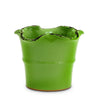 SCAVO GIARDINI-GARDEN: Medium Planter Vase with fluted rim  'VERDE BOSCO' LIGHT GREEN