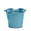 SCAVO GIARDINI-GARDEN: Medium Planter Vase with fluted rim  LIGHT BLUE