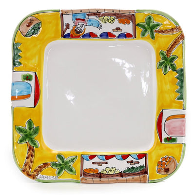 LA MUSA: Square Dinner Plate with wavy freeform rim Mercato Sicilian Farmer Market