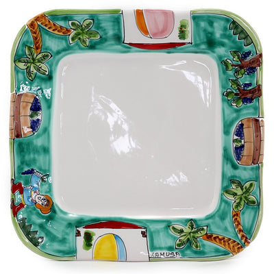 LA MUSA: Square Dinner Plate with wavy freeform rim Sicilian Grape Harvest