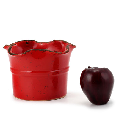GIARDINI-GARDEN SCAVO: Small Planter Vase with fluted rim RED