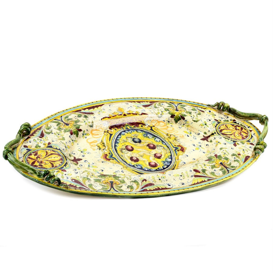 MAJOLICA MEDICI: Large Oval Tray with two handles