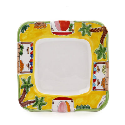 LA MUSA: Square Salad Plate with wavy freeform rim Mercato Sicilian Farmer Market