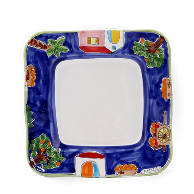 LA MUSA: Square Salad Plate with wavy freeform rim Sicilian Oranges Harvest