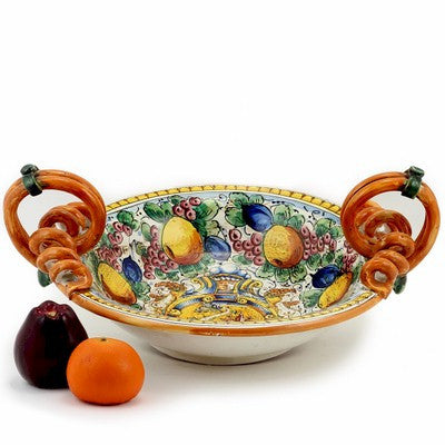 MAJOLICA DELFINO: Scrolled handles round bowl