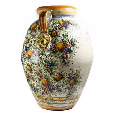 MAJOLICA DELFINO: Large Tuscan Orcio Urn with two handles and lion heads
