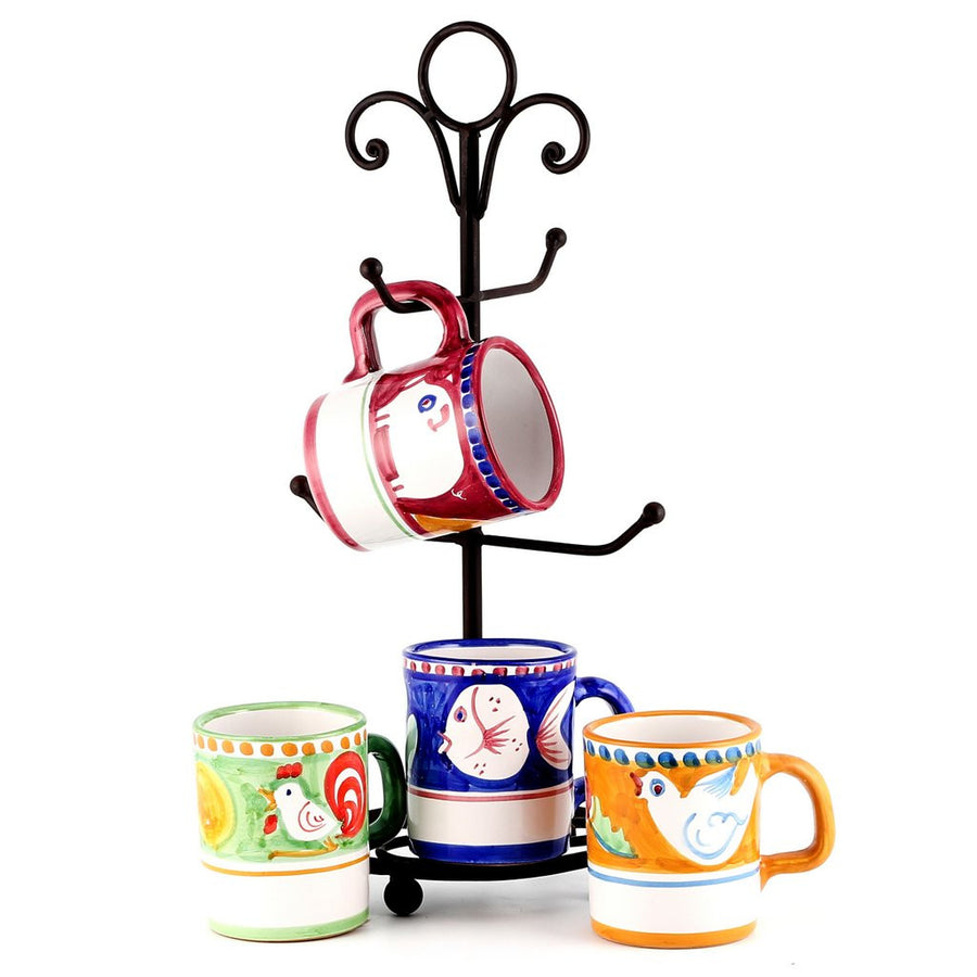 VIETRI MUGS SET: 4 Mugs as shown and wrought iron four arms mug stand tree