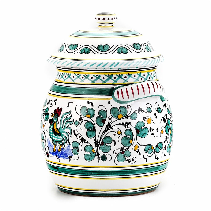 ORVIETO GREEN ROOSTER: Traditional Biscotti Jar