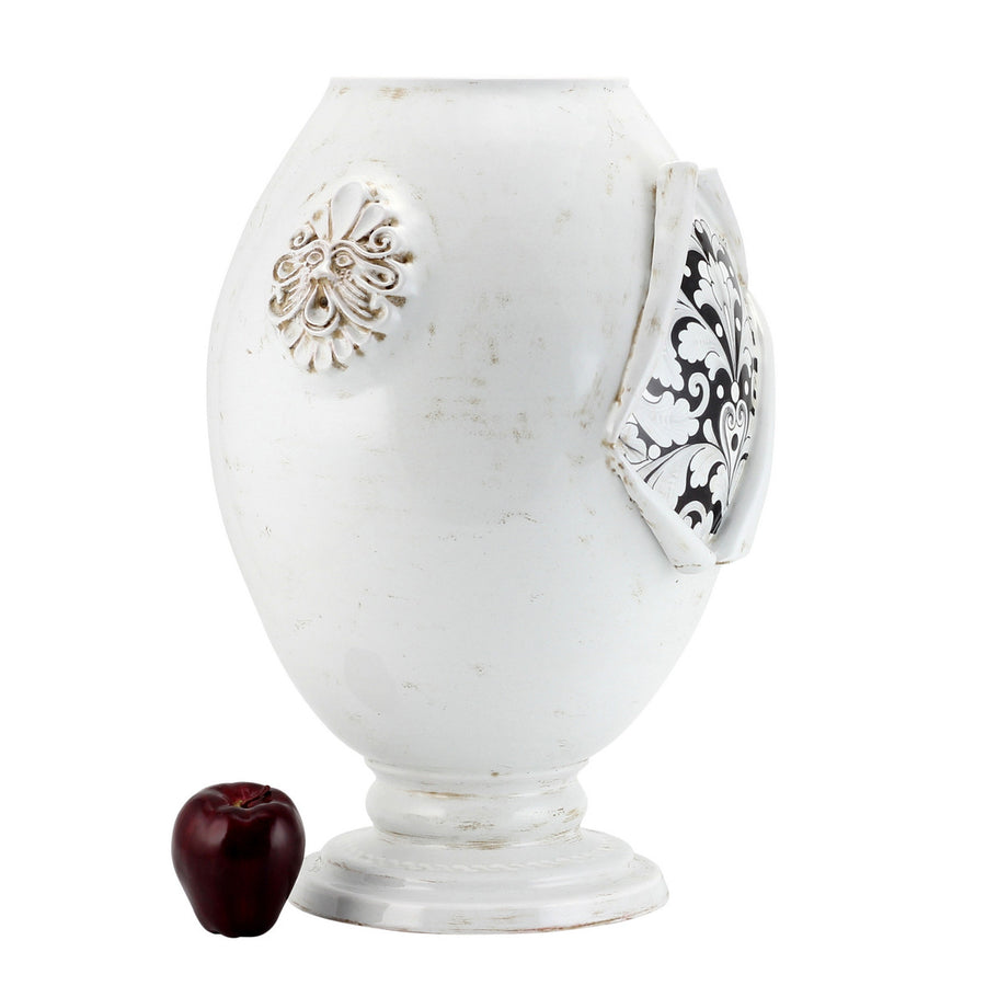 SURPRISE: Jar Orcio Urn Vase Deruta Vario Nero Antique White (Large)
