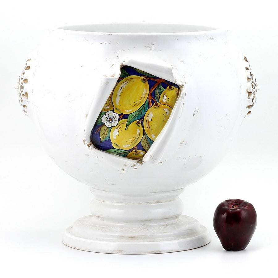 SURPRISE: Cachepot Planter Lemon design Antique White