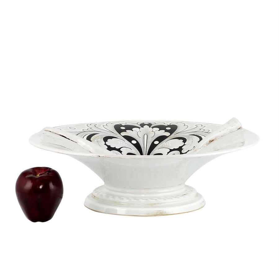 SURPRISE: Footed Centerpiece Deruta Vario Black Gray Antique White
