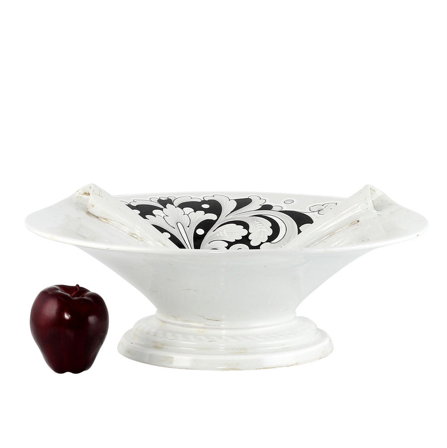 SURPRISE: Footed Centerpiece Deruta Vario Nero Antique White (Large)