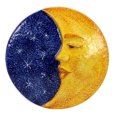 FRATELLO SOLE SORELLA LUNA: Hand Painted Ceramic Celestial Moon Wall Plaque