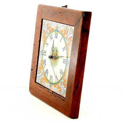 MAJOLICA: Wall clock on reclaimed wood frame
