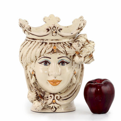 CALTAGIRONE: Head Vase Woman with LEMONS Antiqued Ivory (Small)