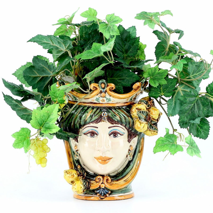 CALTAGIRONE: Head Vase Woman with LEMONS Multicolor Green Orange (Small)