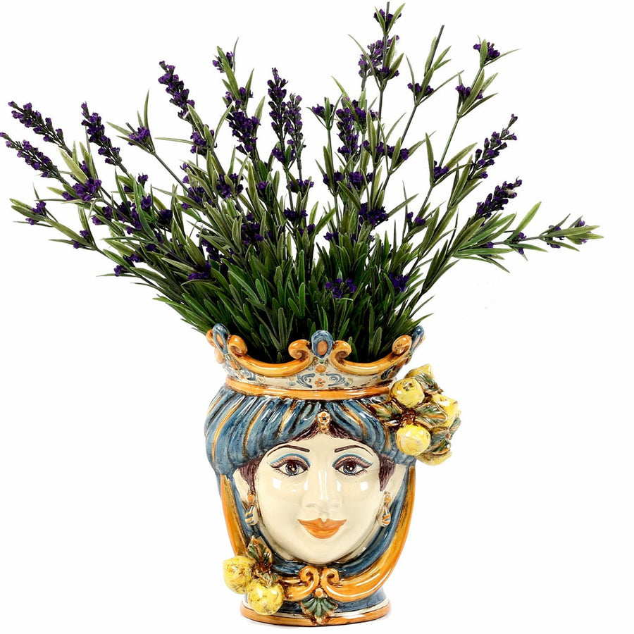 CALTAGIRONE: Head Vase Woman with LEMONS Multicolor Blue Orange (Small)