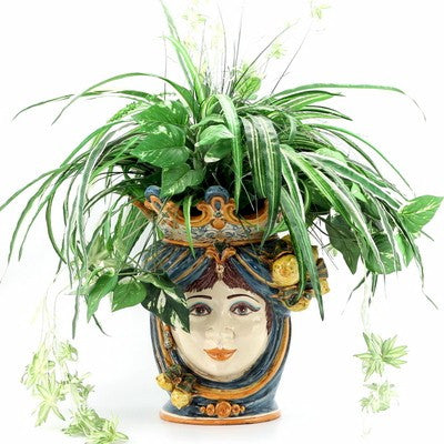 CALTAGIRONE: Head Vase Woman with LEMONS Multicolor Blue Orange (Large)