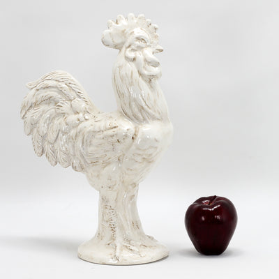 ROOSTER OF FORTUNE: MARIO Medium Ceramic Rooster of Fortune Antique White