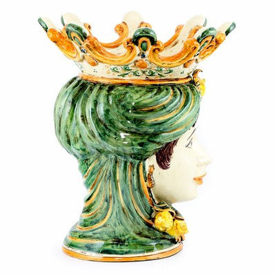 CALTAGIRONE: Head Vase Woman with LEMONS Multicolor Green Orange (Large)