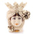 CALTAGIRONE: Head Vase Woman with POMEGRANATE Antiqued Ivory (Large)