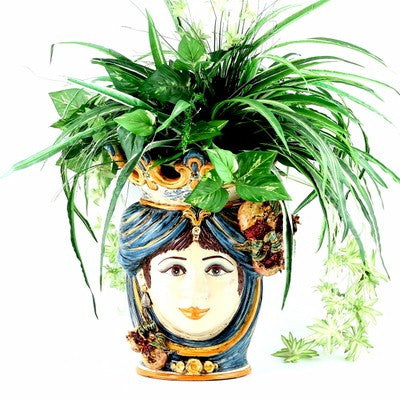 CALTAGIRONE: Head Vase Woman with POMEGRANATE Multicolor Blue Orange (Large)