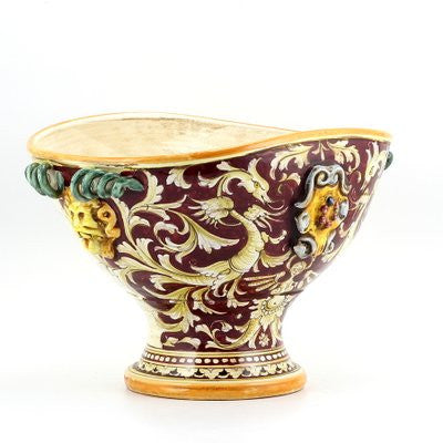 MAJOLICA RUBINO: Oval footed centerpiece with bass relief crest