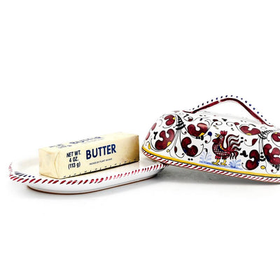 ORVIETO RED ROOSTER: Butter Dish with Cover