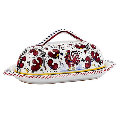 ORVIETO ROSSO: Butter Dish with Cover