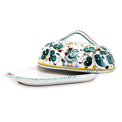 ORVIETO GREEN ROOSTER: Butter Dish w cover