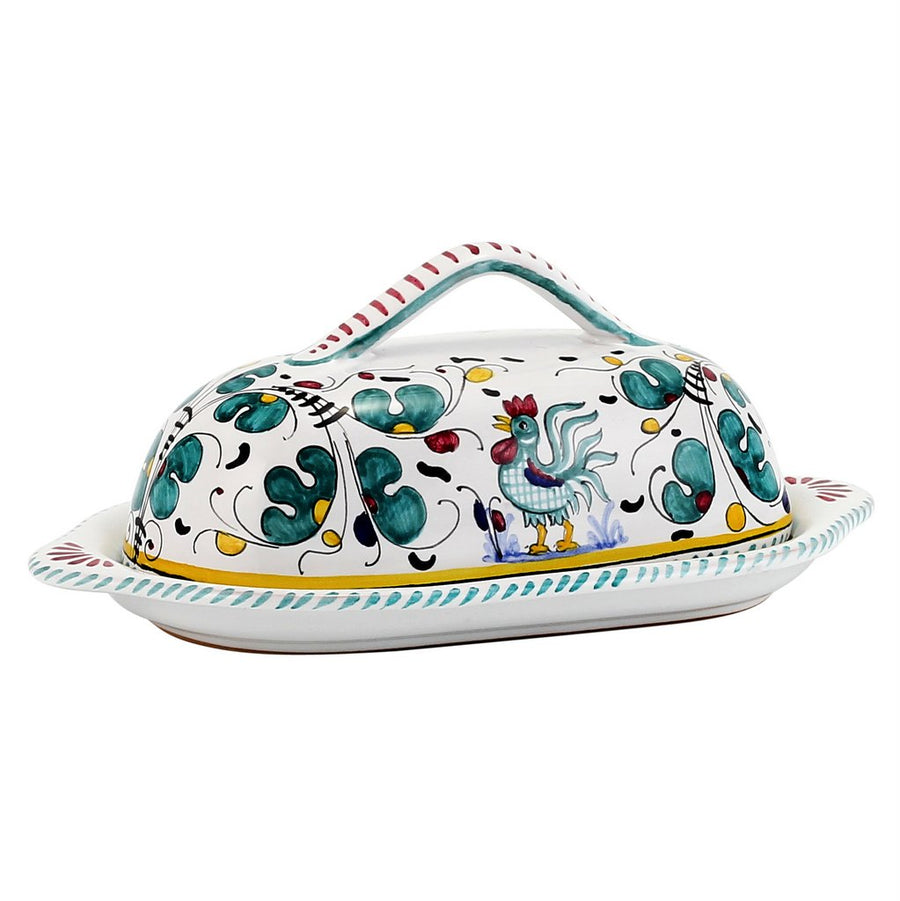 ORVIETO GREEN ROOSTER: Bundle with Butter Dish + Sauce Boat + Spoon Rest