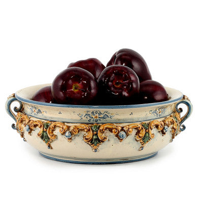 SOFIA TRICOLORE: Round Bowl Centerpiece with Bass Relief Decoration