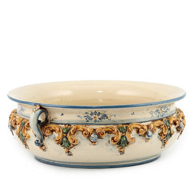 SOFIA TRICOLORE: Round Bowl Centerpiece with Bass Relief Decoration (Large)