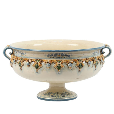 SOFIA TRICOLORE: Footed Bowl with Bass Relief Decoration (Large)