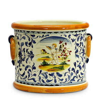 MAJOLICA TOSCANA: Cylindrical Cachepot Planter with side rings ~ Putto/Volute Design