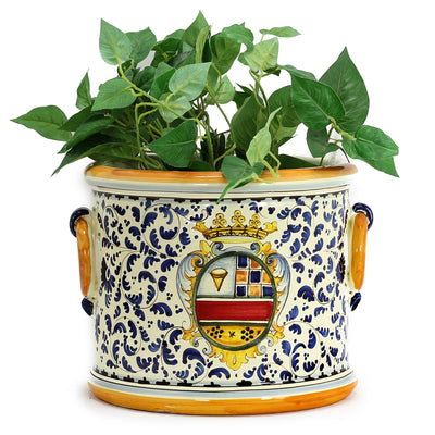 MAJOLICA TOSCANA: Cylindrical Cachepot Planter with side rings ~ Crest/Volute Design