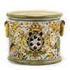 MAJOLICA CAFFAGIOLO: Cylindrical Cachepot Planter with side rings