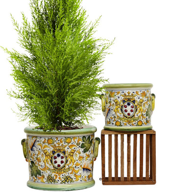 "MAJOLICA CAFFAGIOLO: Cylindrical Cachepot Planter with side rings LARGE (16"" Diam.)"