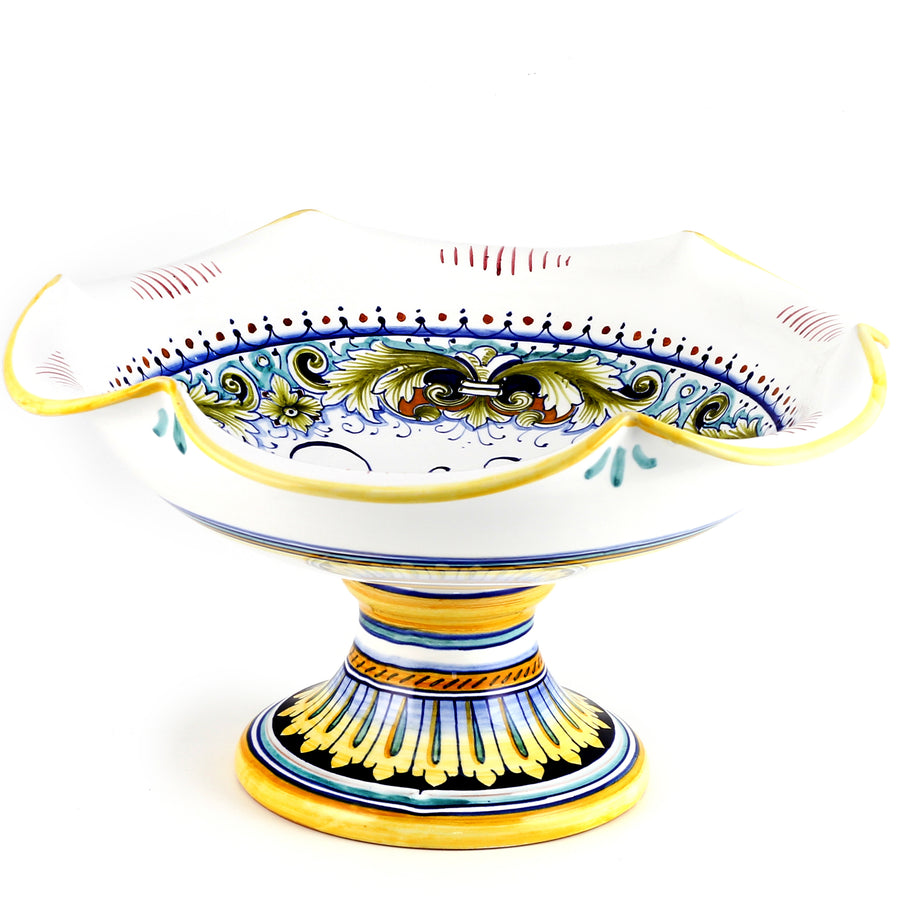DERUTA FOGLIE: Footed scalloped LARGE fruit bowl