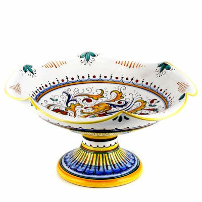 RAFFAELLESCO: Footed scalloped LARGE fruit bowl [R]