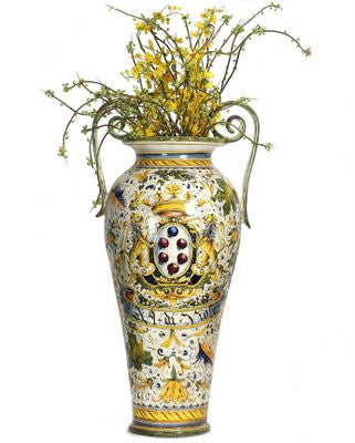 MAJOLICA CAFFAGIOLO: Extra Large Tall Urn double handled