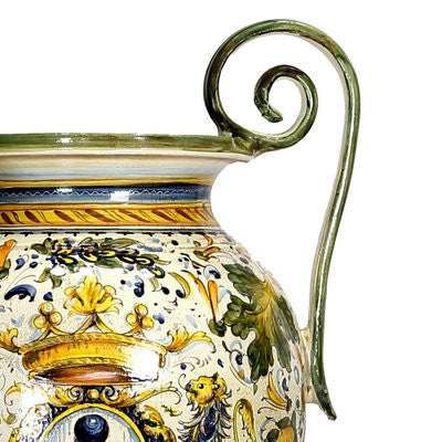 MAJOLICA CAFFAGIOLO: Extra Large Tall Urn double handled masterpiece