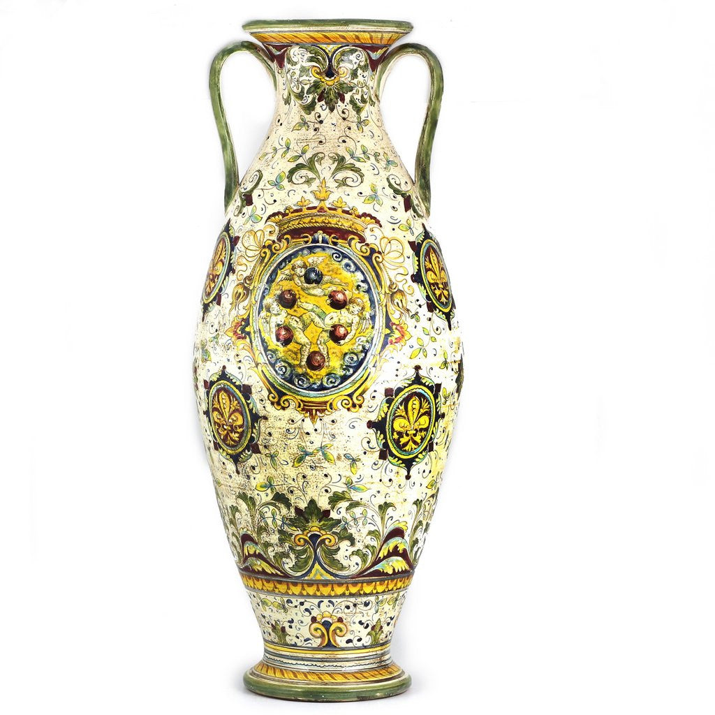 Majolica medici shaped tall vase with two handles and demedici majolica medici shaped tall vase with two handles and demedici crest reviewsmspy