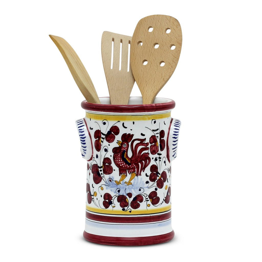 ORVIETO RED ROOSTER: Bundle with Utensil Holder + Biscotti Jar