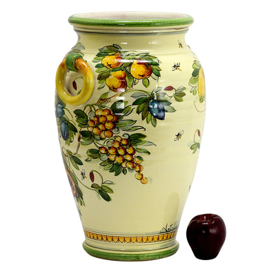 MAJOLICA TOSCANA: DeLuxe Umbrella Stand/Large Vase Crest and Fruit Design
