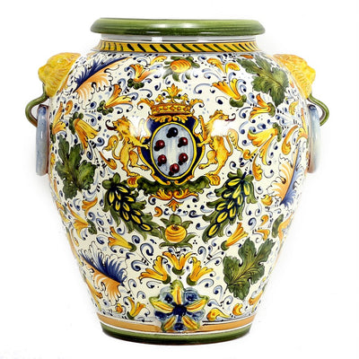 MAJOLICA CAFFAGIOLO: Tuscan Orcio with side rings and lion heads with green trimmings.